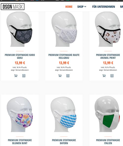 bunte designer masken